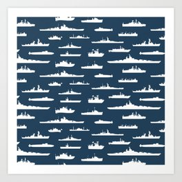 Battleship // Navy Blue Art Print
