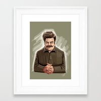 ron swanson Framed Art Prints featuring This Guy. by Michael Jared DiMotta Illustrations