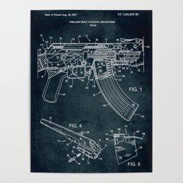 2007 - Firearm bolt locking mechanism patent art Poster