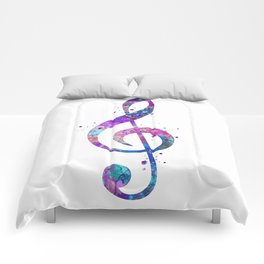 Treble Clef Sign Watercolor Print Blue Purple Wall Art Poster Music Poster Comforters
