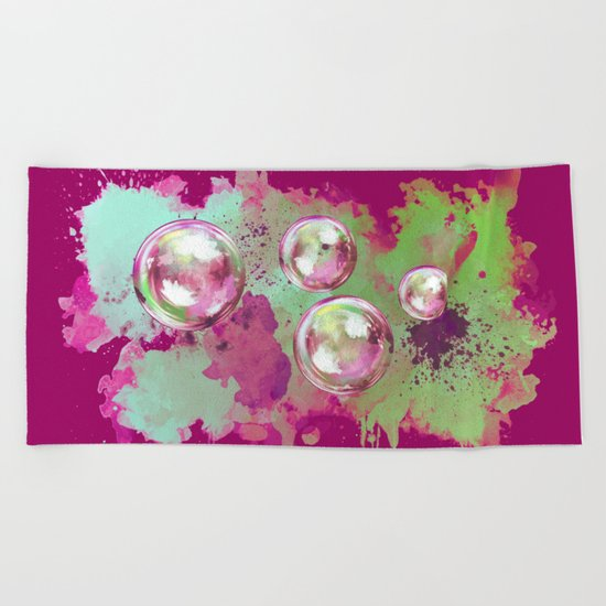 Soap bubbles in the sky watercolor painting Beach Towel