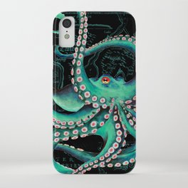 Teal Octopus Watercolor Vintage Map Dance iPhone Case
