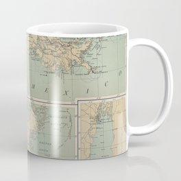 Vintage US Gulf of Mexico Lighthouse Map (1898) Coffee Mug