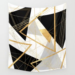 Black and Gold Geometric Wall Tapestry