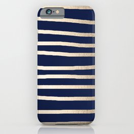 Drawn Stripes White Gold Sands on Nautical Navy Blue iPhone Case