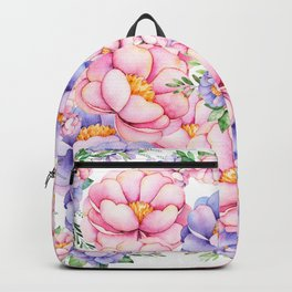 Blush pink lilac watercolor modern roses floral Backpack
