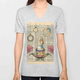 It's Always Tea Time - Alice In Wonderland Unisex V-Neck