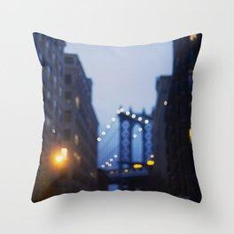 Manhattan Bridge at Night II Throw Pillow