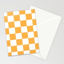 Large Checkered - White and Pastel Orange Stationery Cards