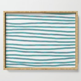 Ocean Green Hand-painted Stripes Serving Tray