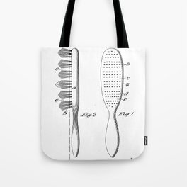 Hair Brush Patent - Salon Art - Black And White Tote Bag