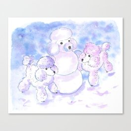 Poodles in Snow Canvas Print