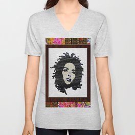 Lauryn Hill vintage fabric & wood grain patterned collage Unisex V-Neck
