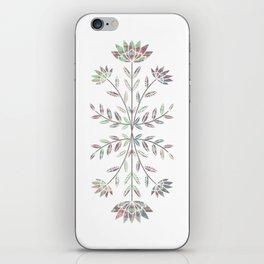 Folkart Leaves and Flowers Design / Batik Tie Dye / green, purple iPhone Skin