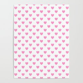 Pink Hearts on White Poster