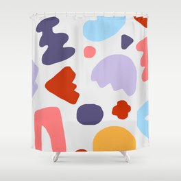 Summer Shapes on Gray Shower Curtain