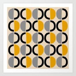 Mid Century Modern Half Circle Pattern 547 Beige Black Gray and Yellow Art Print