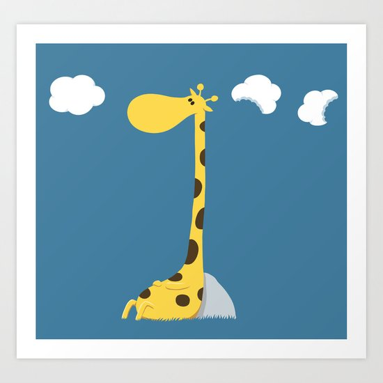The greedy giraffe Art Print