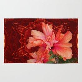 Orange hibiscus and vibrant kaleidoscope Rug