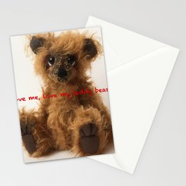 Brown teddy bear Quote Stationery Cards