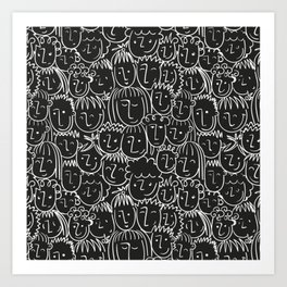 Black & White Hand Drawn People Pattern Art Print
