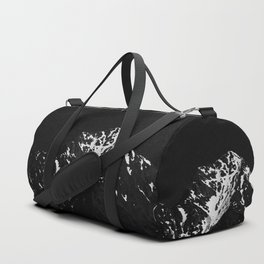 Minimalistic black and white snow covered mountain Duffle Bag