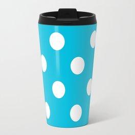 Turquoise and White Polka Dots Travel Mug
