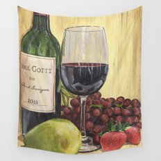 Red Wine and Pear Wall Tapestry