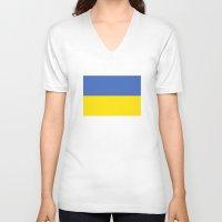ukraine V-neck T-shirts featuring Ukraine country flag by tony tudor