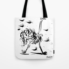 Pablo Picasso Ostrich Artwork T Shirt, Reproduction Sketch Tote Bag