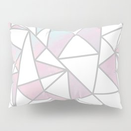 Modern white pink teal watercolor geometrical shapes Pillow Sham