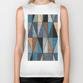 Colorful Concrete Triangles - Blue, Grey, Brown Biker Tank