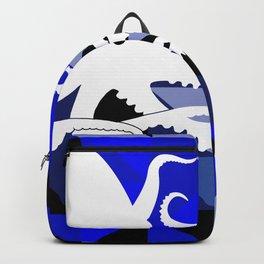 Octopus Geometric artwork in black and blue Backpack
