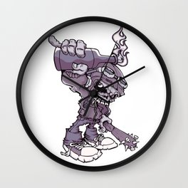 Anarchy Skeleton - Amethyst Smoke Wall Clock