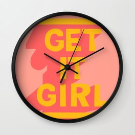 Girly - Get It Girl Quote - Yellow Pink Wall Clock