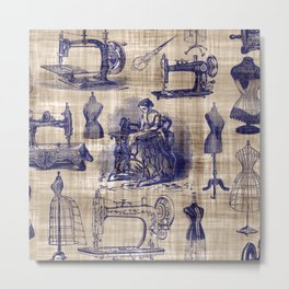 Vintage Sewing Toile Metal Print