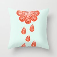 henna Throw Pillows featuring Henna Shower by Neela