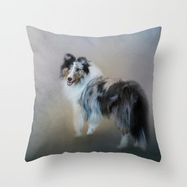 Did You Call Me - Blue Merle Shetland Sheepdog Throw Pillow
