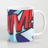 comic book Mugs featuring Comic Book WHAM! by Thisisnotme
