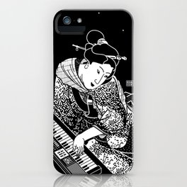 Young woman playing a keyboard iPhone Case