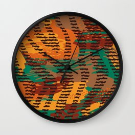 Abstract orange jade brown safari geometrical print Wall Clock