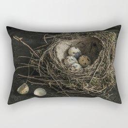 Forgotten nest with eggs Rectangular Pillow