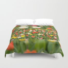 Plenty tulips mix grow in garden Duvet Cover