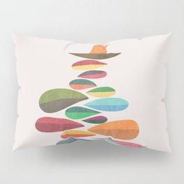 Bird nesting on top of pebbles hill Pillow Sham