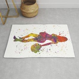 young woman Cheerleader Art Girl Poms Dance in watercolor 10 Rug