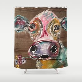 Gorgeous Cow on Wood Shower Curtain