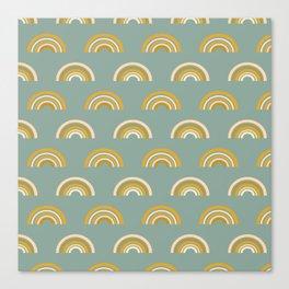 Modern Rainbow Pattern in Teal Canvas Print