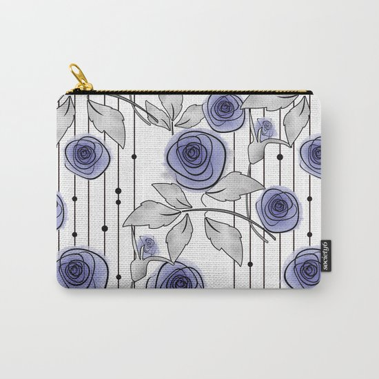 Blue Roses on striped background. Carry-All Pouch