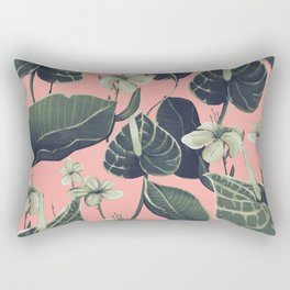Garden Flowers Pink Rectangular Pillow