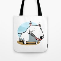 bull terrier Tote Bags featuring Bull Terrier by Jaume Tenes